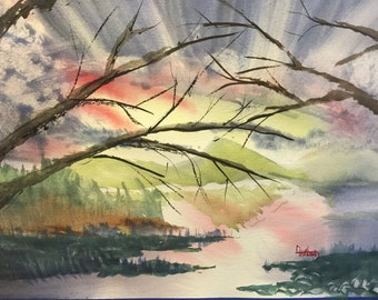 Through the Trees - Original Watercolor Painting