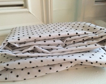 Black Flocked Polka Dot Fabric, white and black fabric, Sold by 1/2 yard