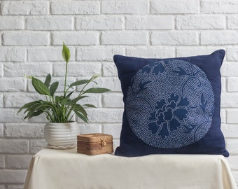 Pillow cover with peony pattern blue calico