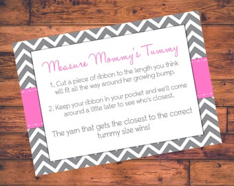 Printable Baby Shower Game - Measure Mommy's Tummy Card - Pink w/ Gray Chevron - DIGITAL FILE