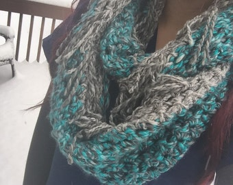 Crochet infinity with full fringe blue and grey