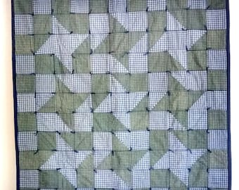 Primitive Pinwheel Lap Quilt (Free Ship) Wall Hanging or Table Topper