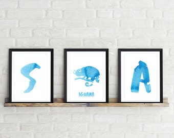 Alphabet Letter Print Blue Ink