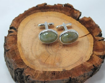 Rhodium Plated Green Moss Agate Cufflinks