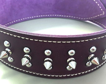 Purple Leather Dog Collar with Purple Suede Inner Lining, Domed Studs & Spikes