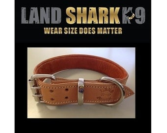 Natural Pure Leather Dog Collar with Soft Rust Suede Leather Padded Inner Lining