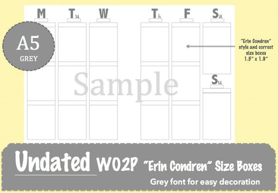 A5 Erin Condren Style WO2P Weekly Printable Planner Inserts