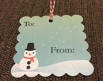 Christmas snowman gift tags - can be personalized- set of 20 tags