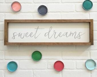 7x24| sweet dreams| wood sign| nursery decor| wall art| child's room wall art| baby girl| baby boy | custom colors | handmade