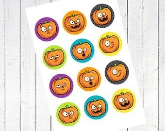 pumpkins 1 inch circles bottlecap images bottle cap collage sheet - Pumpkins 1 Inch Circles Collage Sheet