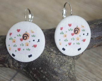 Sheep earrings, sheep jewellery, sheep gift, sheep lover gift, sheep print, colourful jewellery, drop earrings