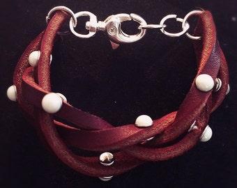 Leather Riveted Bracelet