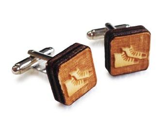 Wooden Cufflinks: Trainers FREE WORLDWIDE SHIPPING