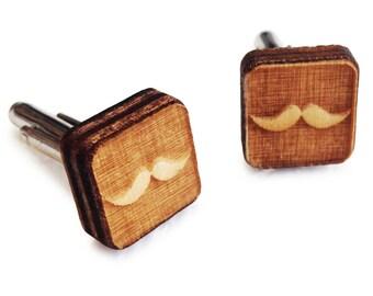 Wooden Cufflinks: Mustache FREE WORLDWIDE SHIPPING