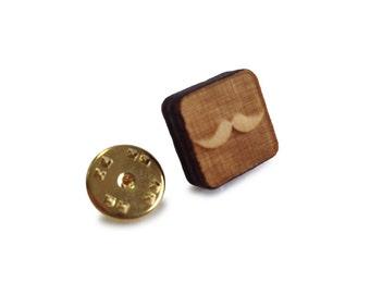 Wooden Tie Pin: Mustache FREE WORLDWIDE SHIPPING