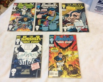 1992 and 1993 Marvel Comics The Punisher War Zone (5) comics