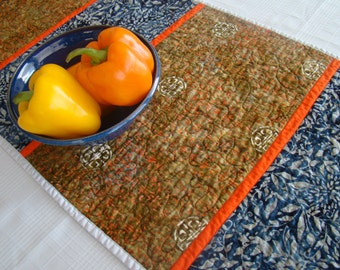 Quilted Table Runner/Quilted Bed Runner/Batik Table Runner/Bed Scarf/Table Runner Handmade/Navy, Brown, Orange/Asian Table Runner/Home Décor
