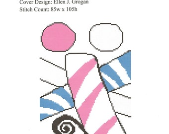 Abstract Needlepoint or Cross Stitch Pattern, Charted Design - Candy Canes - Instant Digital Download Pattern