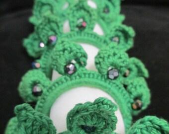 Green Beaded Crocheted Napkin Rings