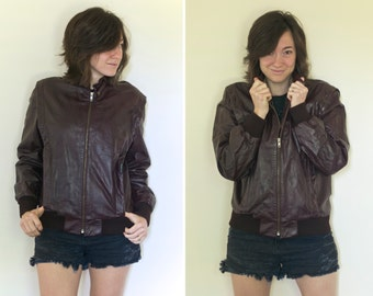 Leather Member's Only Bomber Jacket - Size S/M