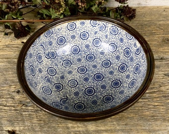 Blue flowers vintage bowl handmade pottery