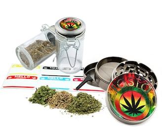 "Rasta Leaf - 2.5"" Zinc Alloy Grinder & 75ml Locking Top Glass Jar Combo Gift Set Item # G022115-045"