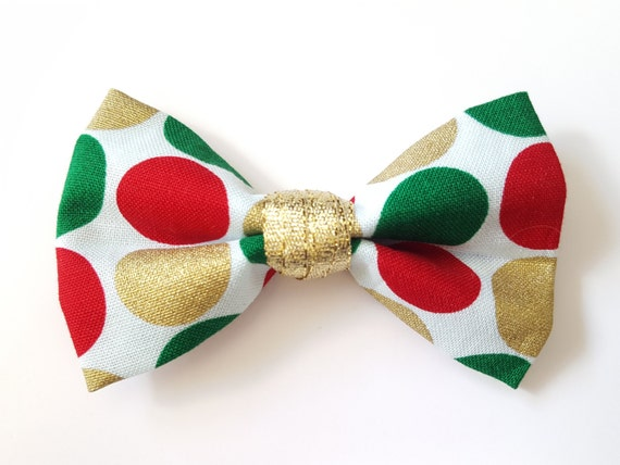 Christmas Polka Dot Bow for Cat or Small Dog Collars, Matching Velcro Collar 100% Sales Donated to Feeding Feral Cats Read in Bio