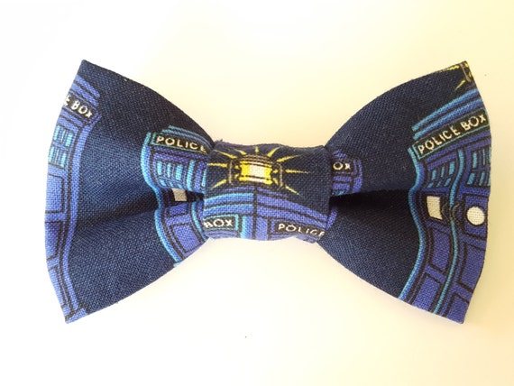 Doctor Who, Tardis Bow for Cat or Small Dog Collars, Matching Velcro Collar, 100% Sales Goes to Helping Feed Feral Cats