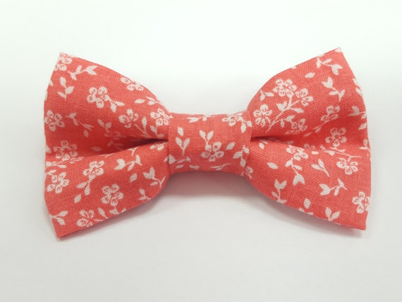Peach Flower Bow for Cat or Small Dog Collars, Matching Velcro Collar, 100% Sales Goes to Feeding Feral Cats