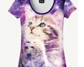 Cat In Space T-shirt, Cat In Space Shirt, Cat T-shirt, Cat Shirt, Women's T-shirt, Women's Shirt