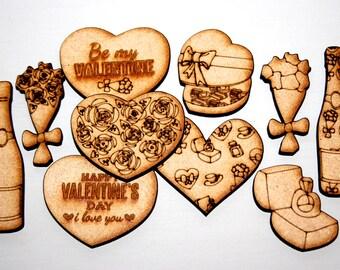 MDF Laser cut & Etched Valentines embellishment pack