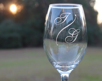 Personalized Initial Etched Wine Glass