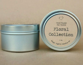 6 oz. Travel Tin | Soy Candle | Floral Collection | CHOOSE YOUR SCENT