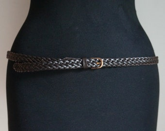 Braided skinny belt, dark brown leather, golden buckle, large size, vintage high quality fashion accessories