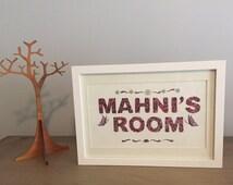 Framed Kids Room Sign