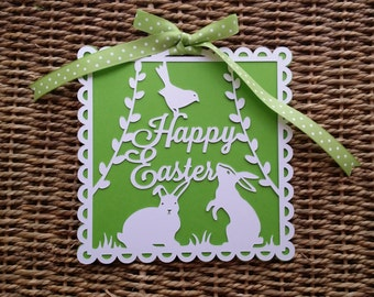 Happy Easter Card papercut Easter rabbits Spring Holiday