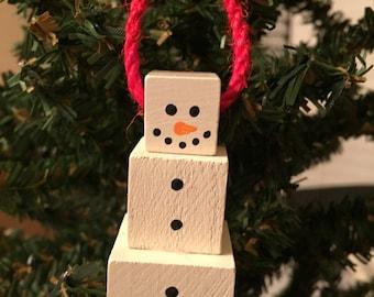 Square Snowman Christmas Ornament
