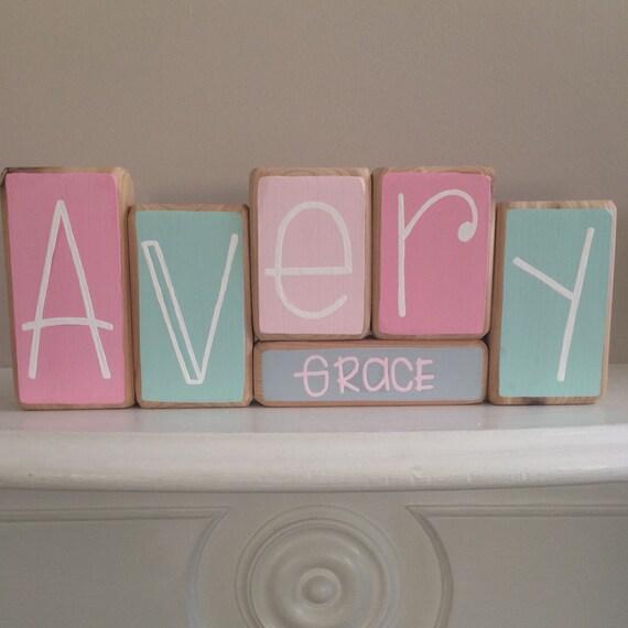 Baby Gift Name Blocks : Baby name blocks custom gift
