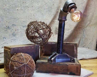 Black Pipe Clutch Star Desk Lamp, Steampunk, Industrial, Rustic, Recycled