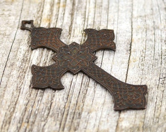 Large Rustic Cross, Antiqued Cross, Cross Pendant, Decorative Cross, Ornate Cross, Crucifix, Rosary, Brass Stamping