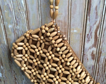 Beaded Vintage 70's Clutch Purse in Natural Wood tones