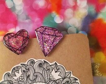 Pink Glittering Gem Planner Page Marker |  Bookmarks, Agenda Markers, Planner Accessories, Bullet Journal Markers, Bujo Clip