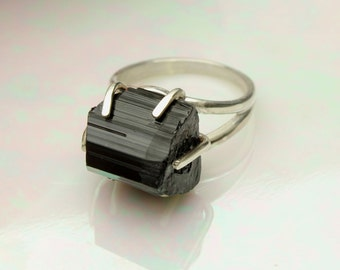 Black Tourmaline Ring Black Schorl Rough in Sterling Silver