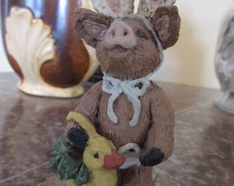 Resin Pig Wearing Bunny Ears - Easter collectible