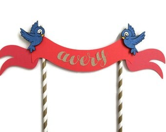Princess themed Cake Topper ||  Blue Birds || Gold & Red Topper || Snow White