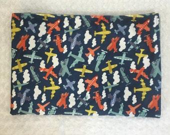 Baby nursery blanket, Baby Boy, Airplane, Gray, Blue, Orange, White