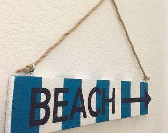 Wooden Beach Sign, Beach Home Decor
