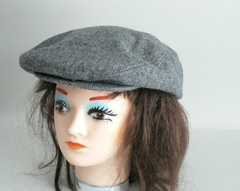Gray Wool Tweed Newsboy Cap