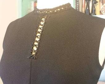 60s Bleeker Street Poly Knit Shift Dress Sleeveless M