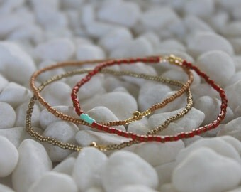 Bracelets - Sacred Ordinary - Red and gold stack
